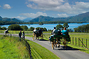 A jaunting car passes by Lough Lein, Killarney's Lower Lake on a trip around the Muckross Demesne in Killarney National Park.<br /> Picture by Don MacMonagle -macmonagle.com