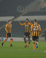 Hull City's Mallik Wilks celebrates after he scores his side's first goal  in the 24th minute with Hull City's Gavin Whyte and Alfie Jones joining him<br /> <br /> Photographer Lee Parker/CameraSport<br /> <br /> The EFL Sky Bet League One - Hull City v Rochdale - Tuesday 2nd March 2021 - KCOM Stadium - Kingston upon Hull<br /> <br /> World Copyright © 2021 CameraSport. All rights reserved. 43 Linden Ave. Countesthorpe. Leicester. England. LE8 5PG - Tel: +44 (0) 116 277 4147 - admin@camerasport.com - www.camerasport.com