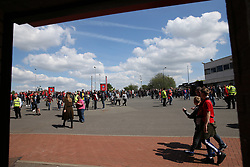 Crowds gather before Manchester United's and Watford's match at Old Trafford