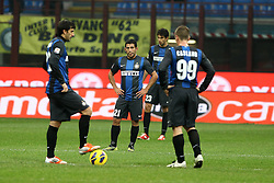 18.11.2012, Giuseppe-Meazza-Stadion, Mailand, ITA, Serie A, Inter Mailand vs Cagliari Calcio, 13. Runde, im Bild Delusione giocatori Inter // during the Italian Serie A 13th round match between Inter Milan and Cagliari Calcio at the Giuseppe Meazza Stadium, Milan, Italy on 2012/11/17. EXPA Pictures © 2012, PhotoCredit: EXPA/ Insidefoto/ Paolo Nucci..***** ATTENTION - for AUT, SLO, CRO, SRB, SUI and SWE only *****