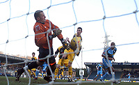 Photo: Alan Crowhurst.<br />Wycombe Wanderers v Stockport County. Coca Cola League 2. 28/01/2006. <br />Stockport goalkeeper James Spencer saves a header from Kevin Betsy (R).