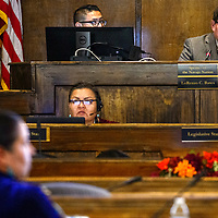 Navajo Nation speaker LoRenzo Bates leads the Navajo Nation Council session Tuesday in Window Rock.