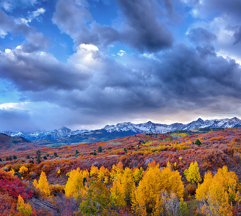 The picturesque rolling hills of the Uncompahgre Valley rise toward the rugged peaks of the Sneffels Range. As the day drew to an end, these ominous clouds blew in over the Dallas Divide with the promise of a powdery winter landscape the following morning.