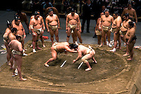 Sumo is a competitive contact sport where a wrestler attempts to force another wrestler out of a circular ring  or to touch the ground with anything other than the soles of the feet. The sport originated in Japan, the only country where it is practiced professionally. The Japanese consider sumo a martial art, though the sport has a history spanning many centuries. The sumo tradition is very ancient, and even today the sport includes many ritual elements, such as the use of salt for purification, from the days sumo was used in the Shinto religion. Life as a rikishi is highly regimented, with rules laid down by the Sumo Association.