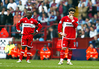 Photo: Chris Ratcliffe.<br /> Middlesbrough v West Ham United. The FA Cup, Semi-Final. 23/04/2006.<br /> Gutted Middlesbrough players Jimmy Floyd Hasselbaink and Fabio Rochemback.