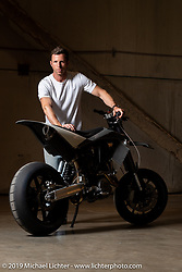 Max Hazan with his second custom KTM. This 1000cc custom that is 150 pound lighter than stock was at the Handbuilt Show. Austin, TX. USA. Thursday April 19, 2018. Photography ©2018 Michael Lichter.