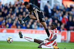 9 September 2017 -  Premier League - Stoke City v Manchester United - Marcus Rashford of Manchester United shoots as Kurt Zouma of Stoke City looks on - Photo: Marc Atkins/Offside