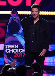 LOS ANGELES - AUGUST 13: Chris Pratt accepts the Choice Sci-Fi Movie Actor award for 'Guardians of the Galaxy, Vol. 2' onstage at FOX's 'Teen Choice 2017' at the Galen Center on August 13, 2017 in Los Angeles, California. (Photo by Frank Micelotta/FOX/PictureGroup) *** Please Use Credit from Credit Field ***