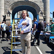 William Russell is the Lord Mayor of the City of London attend to celebrates London hosting of UEFA EURO 2020 including both semi finals and the final with thousands of poster laid along Tower Bridge on 13th June 2021, London, UK
