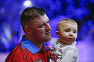 CUTENESS OVERLOAD Daryl Gurney and his baby boy after his Second Round victory against Ross Smith during the Darts World Championship 2018 at Alexandra Palace, London, United Kingdom on 18 December 2018.