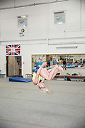 Katie Ormerod at the Leeds Gymnastic Club on 21st July 2017 in Leeds, United Kingdom. Leeds Gymnastic Club is one of the training facilities for the GB Snow team in the UK.