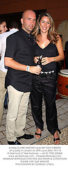 Actress CLAIRE SWEENEY and MR TONY HIBBERD at a party in London on 29th June 2003.PKY 74