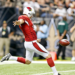 Sep 22, 2013; New Orleans, LA, USA; Arizona Cardinals punter Dave Zastudil (9) against the New Orleans Saints during a game at Mercedes-Benz Superdome. The Saints defeated the Cardinals 31-7. Mandatory Credit: Derick E. Hingle-USA TODAY Sports