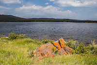 Lichen covered boulder along the shore of Lake Owen of the Medicine Bow Mountains, Wyoming.