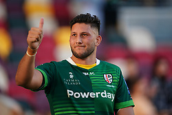London Irish's Adam Coleman gestures to the fans after the Gallagher Premiership match at the Brentford Community Stadium, London. Picture date: Sunday September 26, 2021.