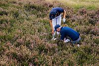 HILVERSUM - Netherlands vs Italy (1-2) . Dutch Jerry Ji identyfies his bal with a referee,. Ball is plugged.  . Quarter finals. ELTK Golf 2020 The Dutch Golf Federation (NGF), The European Golf Federation (EGA) and the Hilversumsche Golf Club will organize Team European Championships for men.  COPYRIGHT KOEN SUYK