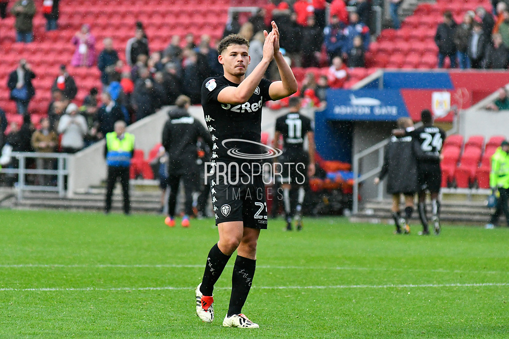 Kalvin Phillips (23) of Leeds United applauds the Leeds fans at full time after the 3-0 win during the EFL Sky Bet Championship match between Bristol City and Leeds United at Ashton Gate, Bristol, England on 21 October 2017. Photo by Graham Hunt.