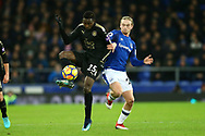 Wilfred Ndidi of Leicester City shields the ball from Tom Davies of Everton. Premier league match, Everton v Leicester City at Goodison Park in Liverpool, Merseyside on Wednesday 31st January 2018.<br /> pic by Chris Stading, Andrew Orchard sports photography.