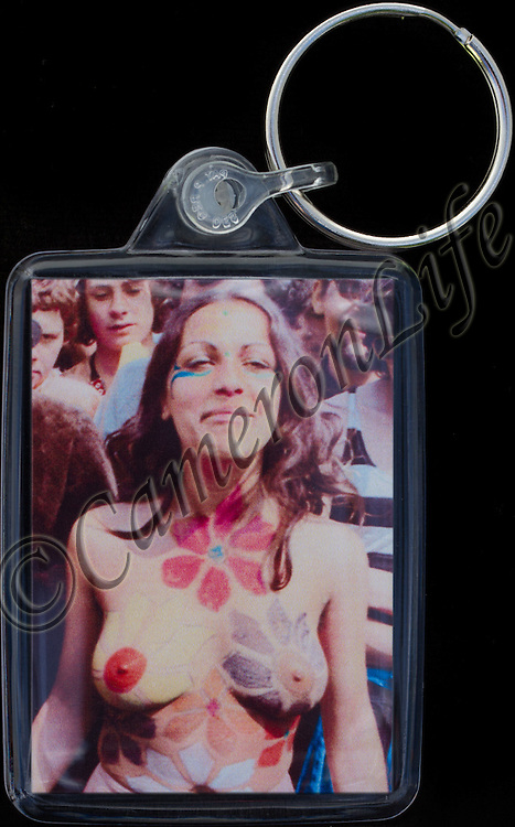 Body Painting - Key Fob with image approx. 35mm x 50mm from 1970 Isle of Wight Music Festival exhibition on the front. The reverse has an exclusive CameronLife  1970 IW festival design