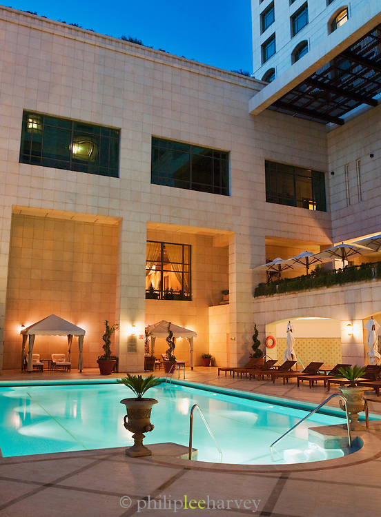 The swimming pool in the luxury Four Seasons hotel in Damascus, Syria