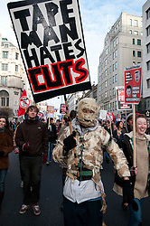 © under license to London News Pictures.  09/12/2010. Students march towards Parliament Square for the fourth time in as many weeks to protest the proposed rise in tuition fees. Photo credit should read Michael Graae/London News Pictures