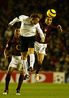 Photo: Chris Ratcliffe.<br />Arsenal v Sparta Prague. UEFA Champions League.<br />02/11/2005.<br />Matthieu Flamini (R) is beaten to the ball by Lukas Zelenka (C)