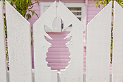 Pineapple cut into a picket fence in the tiny village of Hope Town, Elbow Cay Abacos, Bahamas.