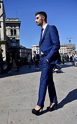 Milan Fashion Week, bloggers , Web Editor, influencer at Grinko fashion show, in Duomo square. 21 Sep 2017 Pictured: Pier Pellencin. Photo credit: Fotogramma / MEGA TheMegaAgency.com +1 888 505 6342
