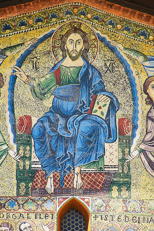 Close up of the 13th century Byzantine Mosaic panel depicting Christ Pantocrator on the Basilica of San Frediano, a Romanesque church, Lucca, Tunscany, Italy .<br /> <br /> Visit our BYZANTINE MOSAIC PHOTO COLLECTION for more   photos  to download or buy as prints https://funkystock.photoshelter.com/gallery/Byzantine-Eastern-Roman-Style-Mosaics-Pictures-Images/G0000NvKCna.AoH4/3/C0000YpKXiAHnG2k<br /> If you prefer to buy from our ALAMY PHOTO LIBRARY  Collection visit : https://www.alamy.com/portfolio/paul-williams-funkystock/lucca.html