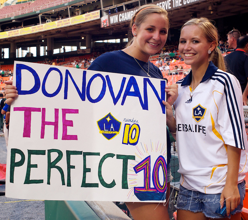 LA Fans show their support for star Landon DOnavan. DC United continued their abysmal season with a 2-1 home loss to the visiting LA Galaxy at RFK Stadium in Washington DC.