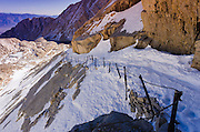 Railing on the Mount Whitney trail above high camp, John Muir Wilderness,  California USA