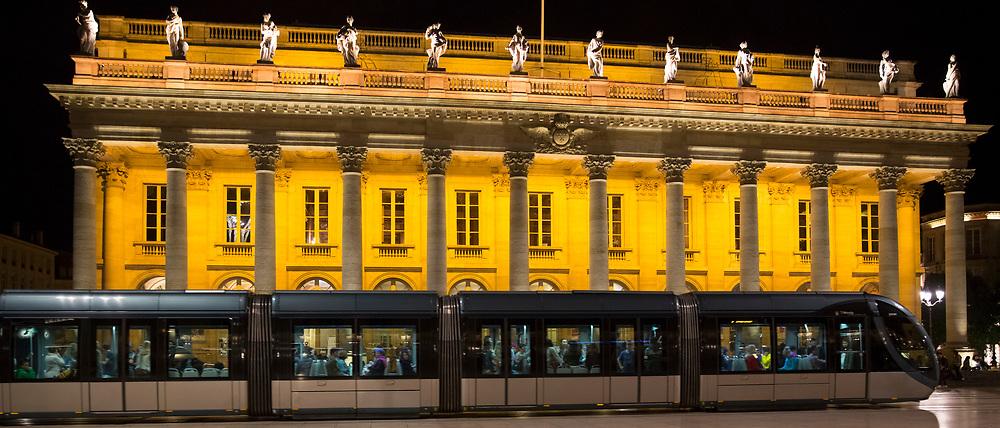 Tram passing the Grand Theatre - Opera National de Bordeaux, Place de la Comedie, Bordeaux, France
