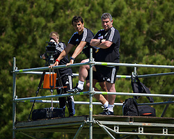 VALE DO LOBO, PORTUGAL - Sunday, May 29, 2016: Wales' manager Chris Coleman and assistant manager Osian Roberts during a Wales v Wales training match on day six of the pre-UEFA Euro 2016 training camp at the Vale Do Lobo resort in Portugal. (Pic by David Rawcliffe/Propaganda)