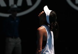 MELBOURNE, Jan. 22, 2018  Hsieh Su-wei of Chinese Taipei reacts during the women's singles fourth round match against Angelique Kerber of Germany at Australian Open 2018 in Melbourne, Australia, Jan. 22, 2018. Kerber won 2-1. (Credit Image: © Bai Xuefei/Xinhua via ZUMA Wire)