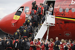 June 13, 2018 - Zaventem, BELGIUM - Jan Vertonghen gets in the special plane of Brussels Airlines called 'the Trident' with Belgian flag colours and pictures of players at the departure of the Belgian national soccer team Red Devils, Wednesday 13 June 2018, in Zaventem airport. The Red Devils flight to Moscow today for the FIFA World Cup 2018...BELGA PHOTO THIERRY ROGE (Credit Image: © Thierry Roge/Belga via ZUMA Press)
