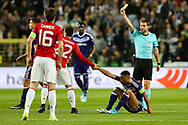 Manchester United's Henrikh Mkhitaryan is given a yellow card during the Europa League Quarter Final 1st leg match at RSCA Constant Vanden Stock Stadium, Anderlecht, Belgium. Picture date: April 13th, 2017.Pic credit should read: Charlie Forgham-Bailey/Sportimage