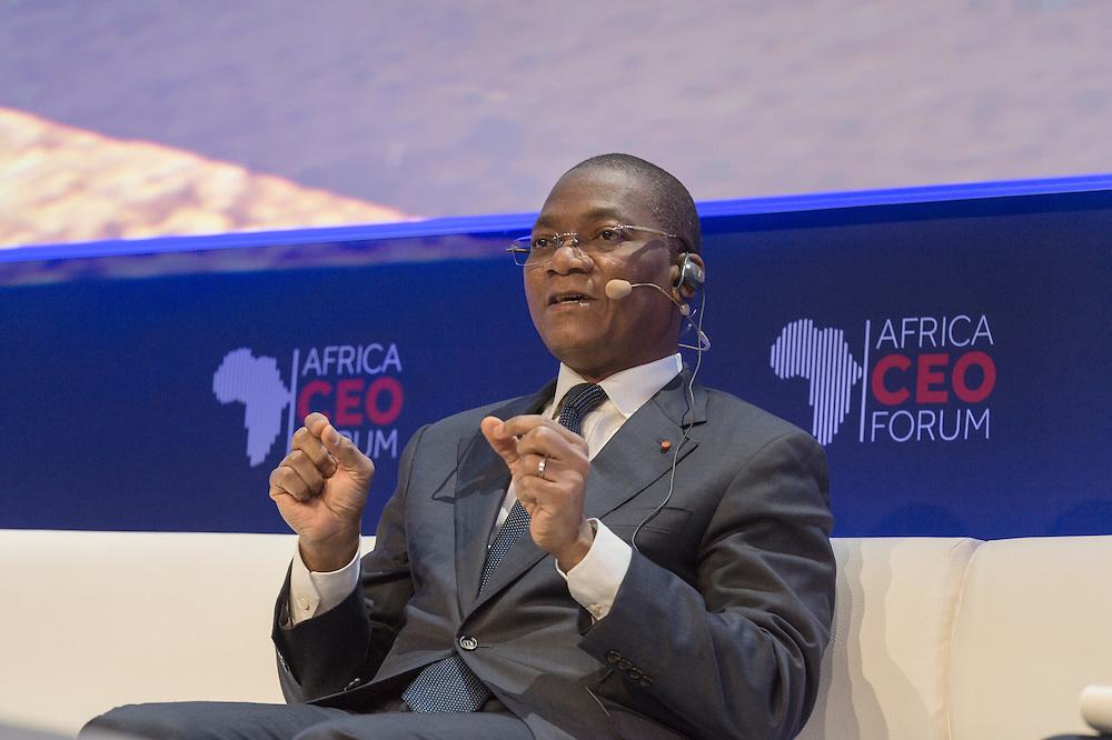 """Bruno Koné, ministre ivoirien des Télécoms, lors de Prospective: L'Afrique vers la 3ème révolution indsutrielle et la """"Société du coût marginal zéro"""", Africa CEO Forum 2015"""