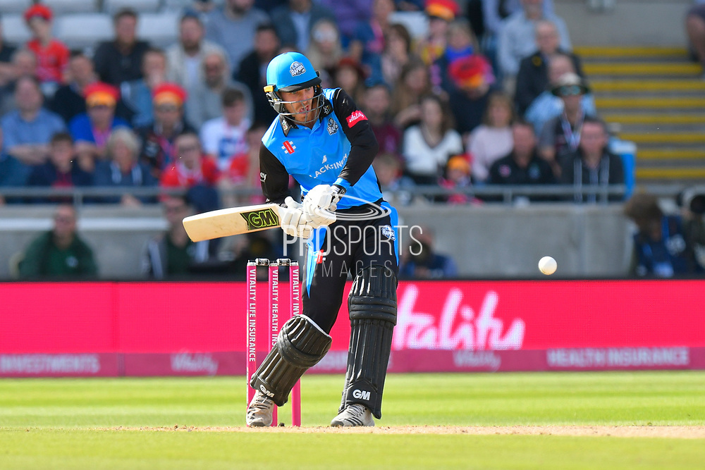 Tom Fell of Worcestershire attacks during the Vitality T20 Finals Day Semi Final 2018 match between Worcestershire Rapids and Lancashire Lightning at Edgbaston, Birmingham, United Kingdom on 15 September 2018.