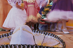 United States, New Mexico, Mexican sombrero on stage with dancers during performance