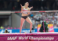 Athletics - 2017 IAAF London World Athletics Championships - Day Two (AM Session)<br /> <br /> Event: High Jump Women - Heptathlon<br /> <br /> Carolin Schafer (GER) looks to the heavens after she clears the bar  <br /> <br /> COLORSPORT/DANIEL BEARHAM