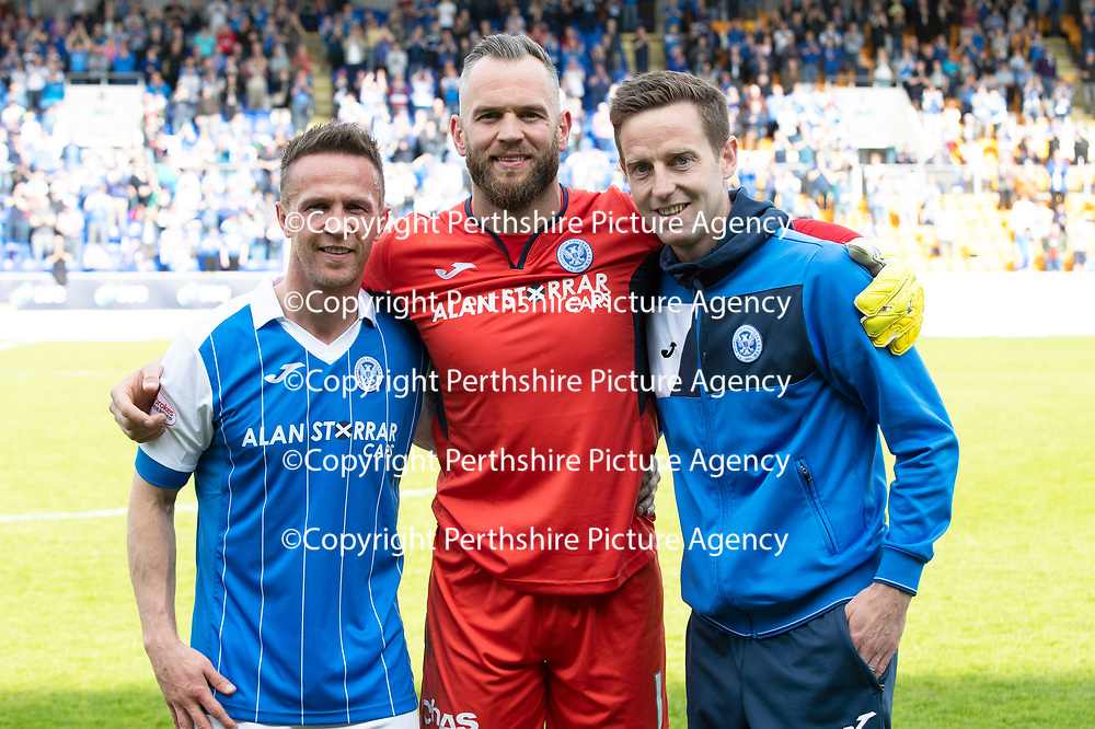 St Johnstone v Ross County…12.05.18…  McDiarmid Park    SPFL<br />The departing trio Chris Millar, Alan Mannus and Steven MacLean<br />Picture by Graeme Hart. <br />Copyright Perthshire Picture Agency<br />Tel: 01738 623350  Mobile: 07990 594431