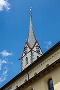 Steeple of the Stadtkirche (City Church) seen from a cloister of St. George's Abbey Museum / Kloster Sankt Georgen, in Stein am Rhein village, in Schaffhausen Canton, Switzerland, Europe.