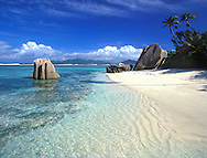 Sculpted rocks on Anse Source d'Argent on the island of La Digue in The Seychelles, The Indian Ocean