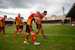 31JUL21 Partick Thistle's Scott Tiffoney celebrates after scoring their third goal. Partick Thistle 3 v 2 Queen of the South. First Scottish Championship game of the season.