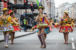 © Licensed to London News Pictures. 01/01/2019. London, UK. Dancers perform during the London New Year's Day Parade. More than 8,000 performers from 26 countries are taking part in the parade. Photo credit: Rob Pinney/LNP