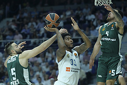 April 25, 2018 - Madrid, Madrid, Spain - TREY THOMPKINS  of Real Madrid during the Turkish Airlines Euroleague play-off quarter final series third match between Real Madrid and Panathinaikos Superfoods at the Wizink Center in Madrid, Spain on April 25, 2018  (Credit Image: © Oscar Gonzalez/NurPhoto via ZUMA Press)