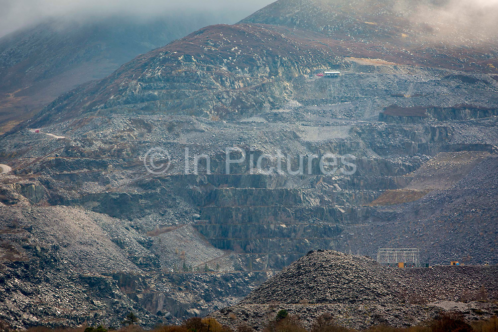 A view of Penrhyn Slate Quarry in Bethesda, Gwynedd, Wales. It is the largest slate quarry in the UK with a workforce of almost 200.