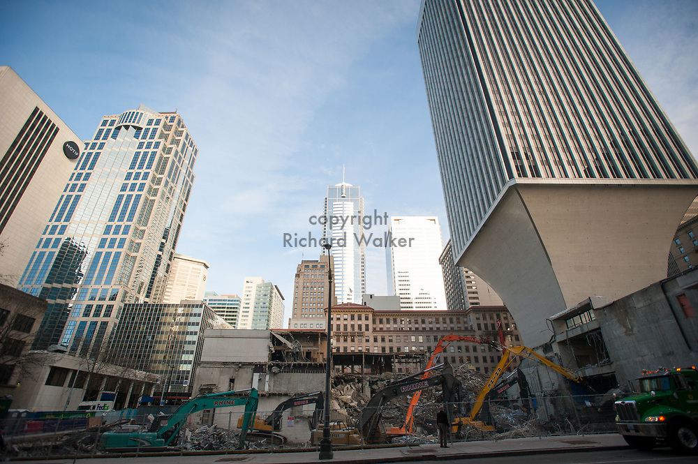 2017 DECEMBER 12 - Demolition of Rainier Square at base of Rainier Tower, downtown Seattle, WA, USA. By Richard Walker