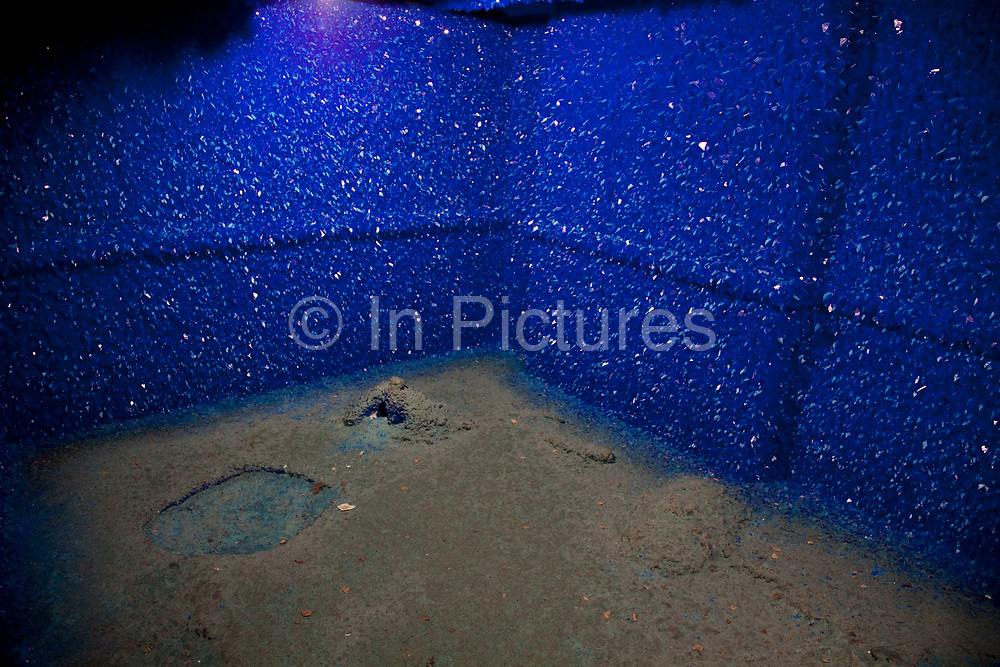 Roger Hiorns contemporary  art installation 'Seizure'. In a disused council flat in South London, this beautiful work is made from blue copper sulphate crystals formed on the walls of the apartment. It was for this work that he was nominated for the 2009 Turner Prize.