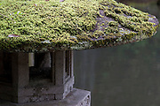 A moss covered stone lantern in Kenrokuen Gardens in Kanazawa, Japan Wednesday October 15th 2008